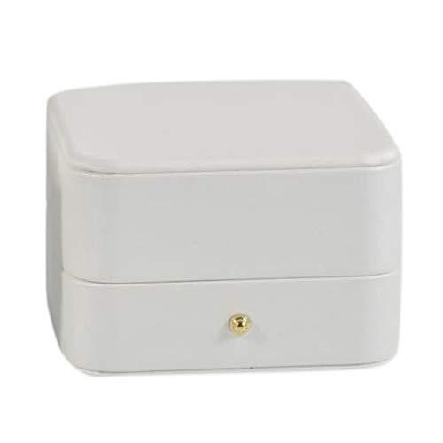 Sonline Caja Colgante MagníFica Caja Portadora Colgante de Cuero de Primera Calidad para Boda, Caja de Regalo de Joya de Propuesta (Blanco)