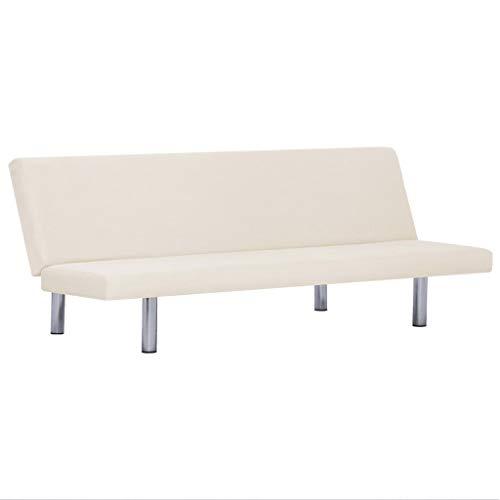 vidaXL Schlafsofa mit 3 einstellbaren Positionen Sofa mit Schlaffunktion Couch Gästebett Bettsofa Schlafcouch Polstersofa Wohnzimmer Creme Polyester