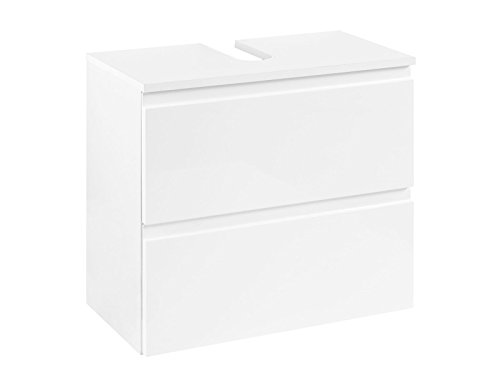 möbelando Unterbeckenschrank Schrank Waschbeckenunterschrank Badschrank Badezimmer Cleo I (Korpus-weiß/Front-weiß-Hochglanz)