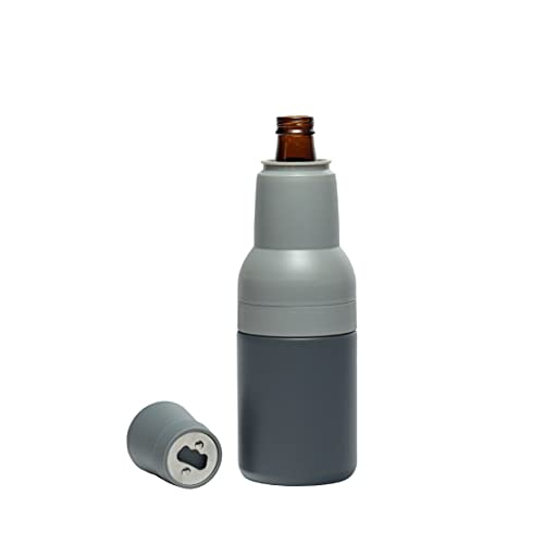 Asobu Frosty Beer 2 Go Vacuum Insulated Double Walled Stainless Steel Beer Bottle and Can Cooler with Beer Opener (Powdered Pink)
