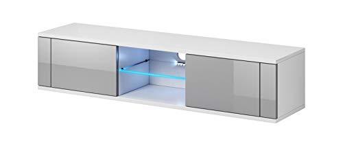 Vivaldi Mobile Porta TV Hit | 30 x 140 x 36 cm | Illuminazione LED | Armadietto TV con Pannelli Laminati | Mobile Basso per TV con 2 scaffali | Ideale per Salotto | Bianco Opaco e Grigio Lucido