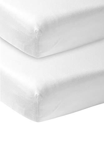 Meyco 563200 Jersey Spannbetttuch, 2er-Pack, 40x80/90 cm (Wiege), Weiß 100% Baumwolle