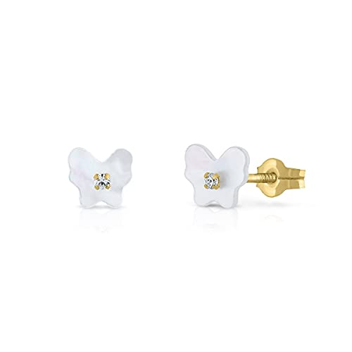 Pendientes Oro de Ley Certificado. Niña/Mujer. Mariposa Nácar natural. Cierre de presión. Medida 6 mm. (1-8720)