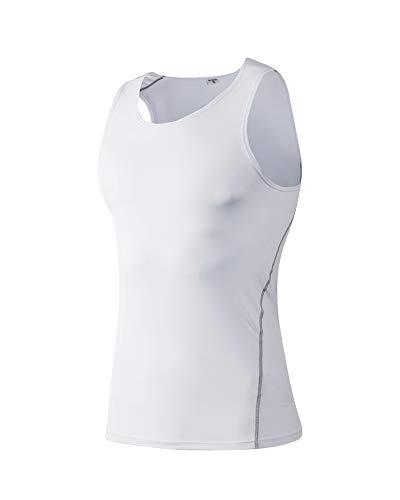 Yanlian Herren Sportswear Quick Dry Sleeveless Sports Tank Tops Tanktops Sportbekleidung Fitness Running Yoga & Pilates Weiß 2XL