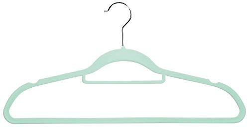 Kesper 6er Pack Kunststoff Kleiderbügel Antirutsch-beschichtet mit Krawattenbügel & Hosensteg, 45,5 cm, mint, für Kleiderschrank, Garderobe & Umkleide