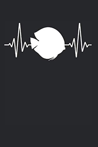 Diskusfisch Fisch Herzschlag EKG: Diskusfisch & Aquarianer Notizbuch 6'x9' Buntbarsch Geschenk für Zierfisch & Aquarium
