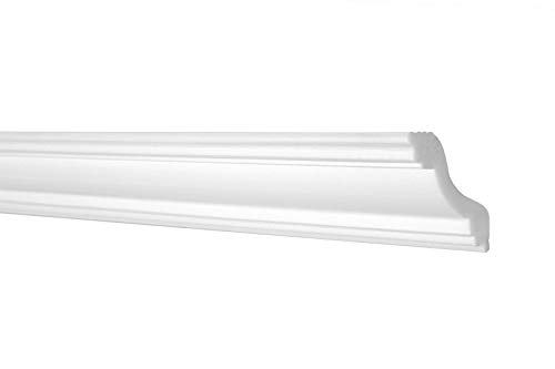 Zierleisten Sparpaket E-40 | leicht und stabil | extrudiertes Styropor | Stuckprofile | Decken-/ und Wandübergang | modern weiß | dekorativ | XPS | 45 x 45 mm | 50 Meter