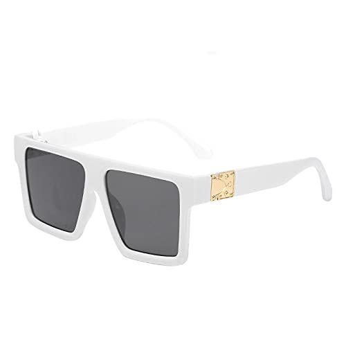FENGHUAN Gafas de sol cuadradas conmonturagrande Vintage de moda clásica, gafas de solplanas de lujo parahombres y mujeres,tonos de viaje, blanco, negro