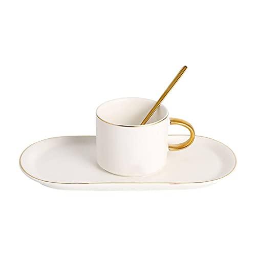 GLALAXY Taza de café Porcelana de 2 Piezas, Tazas de Porcelana para café, té, Cacao, Conjunto de 2 (Color : 2 Pieces White)