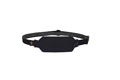 SPIbelt Diabetic Belt: Adult - No-Bounce, Discreet Belt with Hole for Insulin Pump or Other Medical Devices! (Black with Black Zipper)