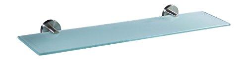 Ambrosya® | Scaffale Esclusivo Realizzato in Acciaio Inox e Vetro | Bagno Mensola di Vetro Supporto Staffa Asciugamano Porta a Muro ((Acciaio Inossidabile (Spazzolato), 50 cm x 12 cm)