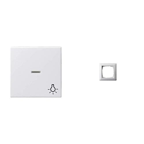 Gira 067403 Wippe Kontroll Symbol Licht System 55, reinweiß & 021103 Rahmen 1-fach ST55, reinweiß-glänzend