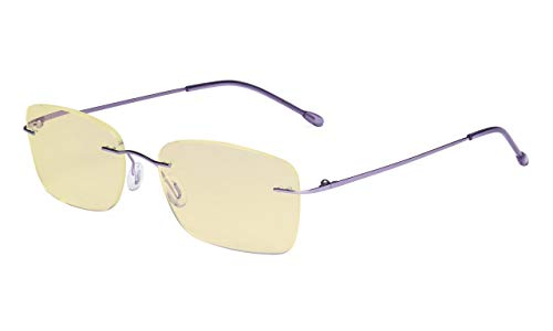 Eyekepper Computerbril vrouwen blauw licht blokkering lezer met gele filter lens lichtgewicht randloos lezen bril