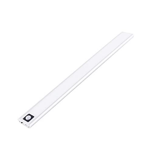 Fenteer Luz LED para armario 31 LED luz de noche recargable para armario cocina pasillo armario - 3000K 20cm de plata