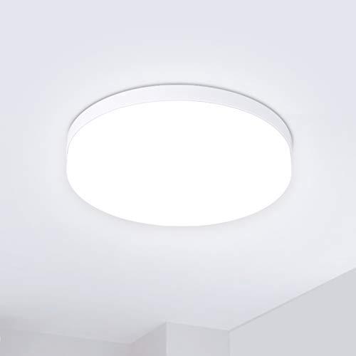 Hosome Plafonnier LED, 36W Plafonnier rond de salle de bains, 6500K lumière Blanche Froide, Plafonnier moderne étanche IP44 pour cuisine, salon, chambre à coucher, couloir et plu