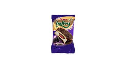 ÜLKER Halley - Vollmilchschokoladenüberzogener Sandwich-Keks mit schwarzer Maulbeere 33,7G x 8 x 12 (12 x 8 Packung)