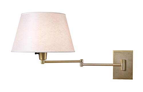 Kenroy Home 30100VB Simplicity Wall Swing Arm Lamp, 13.5 Inch Height, 16 Inch Width, 26 Inch Extension, Vintage Brass