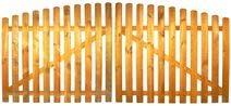 StaketenTor 'Standard' 300x 120/140 cm - oben – kdi / V2A Edelstahl Schrauben verschraubt - aus frischem Holz gehobelt – nach oben gebogene Ausführung - kesseldruckimprägniert