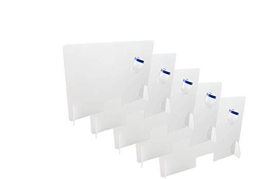 Pięć kratek ochronnych na stoliki, drążki, biurka, rozmiar 80 cm szerokości i 60 cm wysokości, 3 mm grubości, okna 15 x 26 cm, metakrylan, przezroczysty, łatwy montaż.