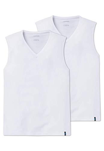 Schiesser Herren Unterhemd 95/5 Tank Top 2er Pack, (Weiss 100), Medium (Herstellergröße: 005)