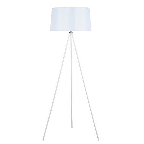 HOMCOM Stehlampe Tripod Schlafzimmer Standleuchte Stehleuchte 40 W Skandinavisch Stoff + Metall weiß ∅48 x 156 cm
