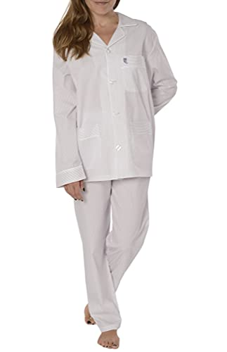 El Búho Nocturno - Pijama Mujer Largo Solapa Seda Rayas Premium The Gentlemen's Choice Violeta Talla 1 (XS) Rayas-Violeta 88% algodón 12%