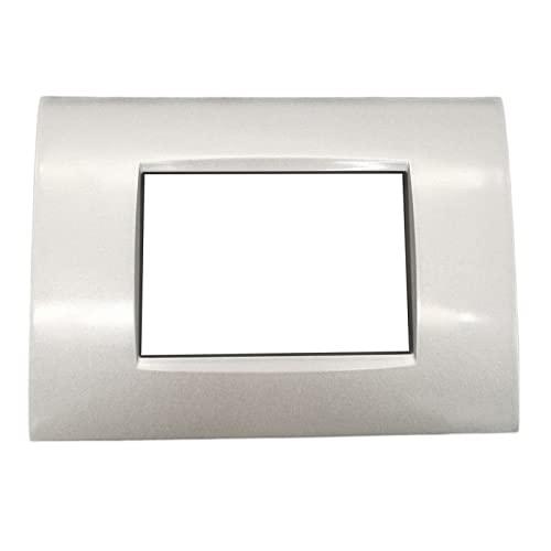 Placche compatibili bticino living light AIR placca rigida filo muro quadra per supporti LN4703C (3 Posti, T3 - Silver Tech)
