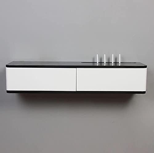 KAXO Gabinete de Tv de Estante Flotante de Madera Iza Enrutador de Pared Enrutador de Pared Caja de Alenamiento Enrutador de Pared de Pared de Pared Caja de Refugio,Negro + Blanco,80 cm