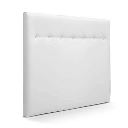 SUENOSZZZ-ESPECIALISTAS DEL DESCANSO Cabecero de Cama Dakota tapizado en Polipiel para Camas de 135 (145 x 120 cm) Polipiel Blanco