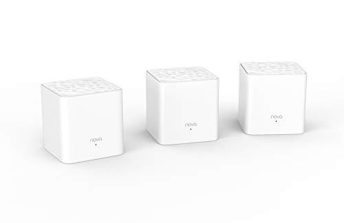 Tenda Nova MW3 Mesh - Router Sistema WiFi de Red en Malla (AC1200, 2.4GHz +5 GHz, Plug and Play, Mu-MIMO, Fast Ethernet 10 100, funciona con Alexa), pack 3