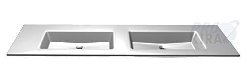 PELIPAL Solitaire 6010 Mineralmarmor-Doppelwaschtisch, Weiß/MMDWT 54-1830 / B: 183 cm