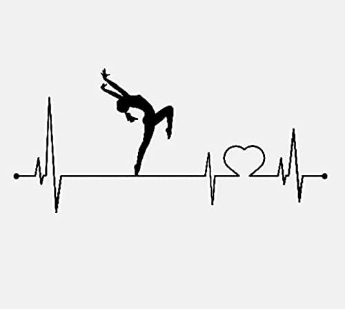 RUI RUI Dance Ballet Jazz Heartbeat Lifeline Vinilo Negro/Plata Etiqueta engomada del Coche 17,7 CM x 8,2 CM