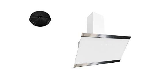 respekta Umluftset_CH88090WA+MIZ1000 Dunstabzugshaube Schräghaube kopffrei weiß 90 cm + Aktivkohlefilter