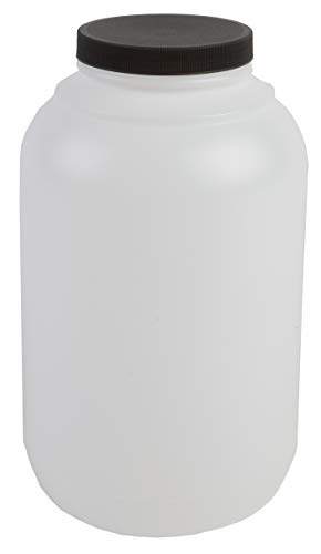 Hudson Exchange 1 Gallon Wide Mouth Plastic Jar with Cap, HDPE, Natural, 4 Pack