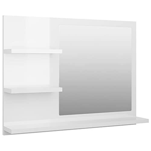 vidaXL Badspiegel mit 3 Ablagen Spiegelregal Wandspiegel Badezimmerspiegel Bad Spiegel Badezimmer Badmöbel Hochglanz-Weiß 60x10,5x45cm Spanplatte