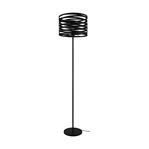 EGLO Lámpara de pie Cremella, 1 lámpara de pie vintage industrial, lámpara de pie de metal en negro, lámpara de salón, lámpara con interruptor, casquillo E27