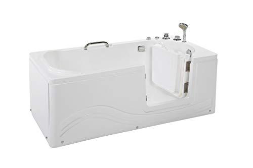 Supply24 since 2004 Senioren Whirlpool Badewanne für Altenpflege mit Armaturen Seniorenbadewanne mit 6 Massage Düsen Tür Wanne Spa Indoor/innen für Pflege (Rechtseinstieg)