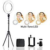LimoStudio 14' Dimmable Dual Colored LED Round Ring Light, Continuous Lighting Kit for Beauty Facial Shoot, Light Stand Tripod, Cell Phone Holder, for Makeup Photo Studio, PROMOAGG2826