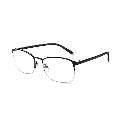 ROSG Distancia progresiva de Enfoque múltiple de Medio Marco y Gafas de Lectura Tr90 Anti-luz Azul Casi de Doble Uso, el diseño de bisagra Resistente no es fácil de aflojar, los Marcos Son durade