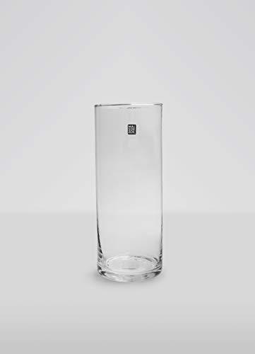 Maison Zoe Mundgeblasene und Handgefertigte Glasvase Zylinder Ø10cm - 50cm hoch - Blumenvase - Deko & Hochzeit