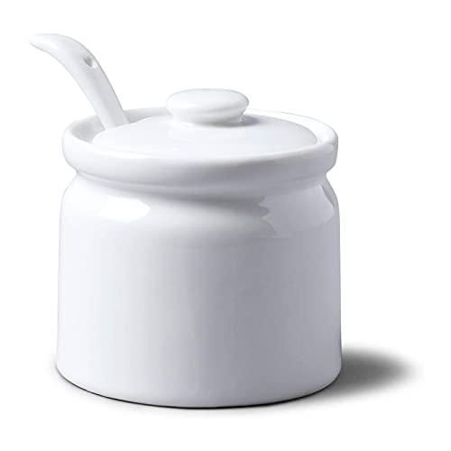 Keramik-Zuckerdose mit Deckel und Löffel, 200 ml, Porzellan-Gewürzdose, Salzschale, Aufbewahrungssalzdose, Gewürzschalen