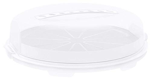 Rotho Fresh Campana per torta piatta, Plastica PP senza BPA, Bianco/Transparente, 35.5 x 34.5 x 11.6 cm