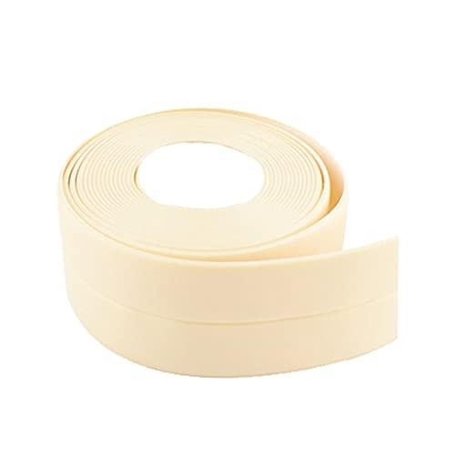 Generic Cinta de calafateo, cinta de sellado decorativa autoadhesiva de PVC, utilizada para fregadero de cocina baño bañera suelo pared borde Protector - Beige