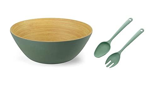 Ensaladera Cuenco bambú orgánico Verde Oliva + Set Cubiertos para Ensalada. 23 cm, x 10 cm. I Fibra de Bambú. Vajilla ecológica bambú I Libre de BPA y Apto lavavajillas, Cuenco ensaladera.