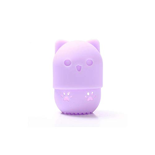 Beauté mélangeur feuilletée support éponge maquillage boîte de séchage oeuf mélangeur cosmétique portable silicone souple rack boîte éponge,Purple