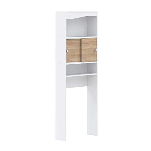 Amazon Marke -AmazonBasics - Badezimmerschrank, 64.3x19.2x177cm (L x T x H), Weiß und Eiche