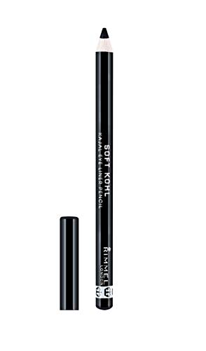 Rimmel London Soft Khol Kajal Eyeliner Pencil Liners Tono 061 Jet Black, 1.2 gr