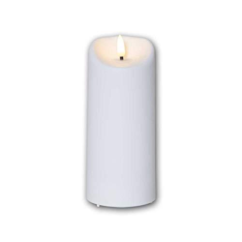 LED Außen-Kerze 3D-FLAMME 7,5x18cm Timer warmweiß