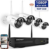 SMONET Outdoor Security Camera System Wireless,8-Channel 1080P Video Security System,4pcs 1.3MP Wireless Home Security Cameras,Night Vision,Plug and Play,Easy Remote View,Without Hard Drive
