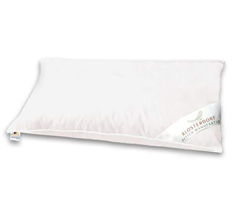 Klosterdorf Bettenmanufaktur Premium Kopfkissen ''natürlich Deluxe'' | 40x80 cm | 500 Gramm | Handarbeit aus Deutschland | Für einen gesunden Schlaf